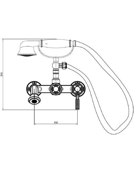 Milacio jaucējkrāns vannai ar dušu Vitoria MC.300.BR - 3