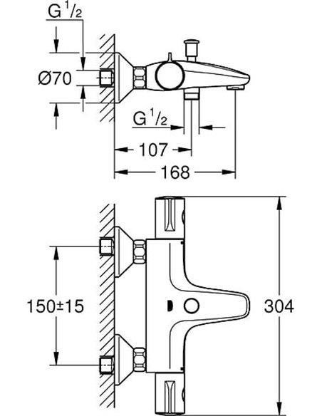 Grohe termostata jaucējkrāns vannai ar dušu Grohtherm 800 34564000 - 6