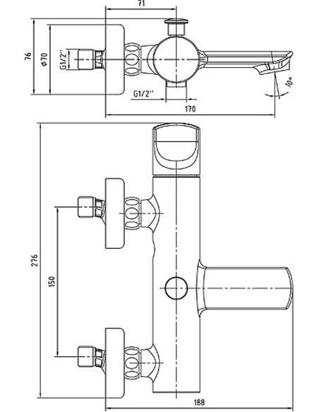 E.C.A. jaucējkrāns vannai ar dušu Myra 102102470HEX - 2