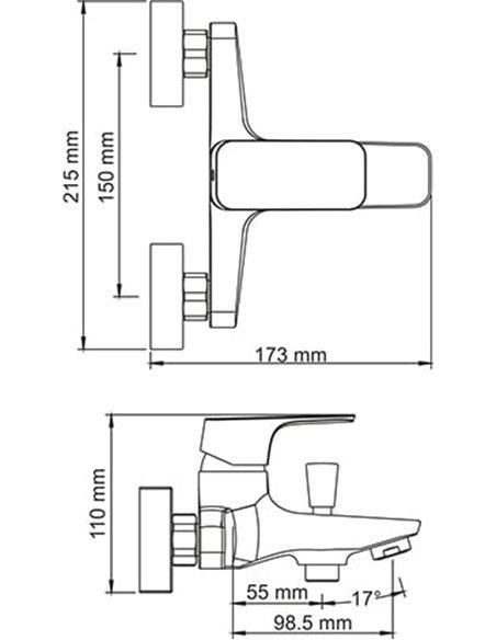 Wasserkraft jaucējkrāns vannai ar dušu Salm 2701 - 3