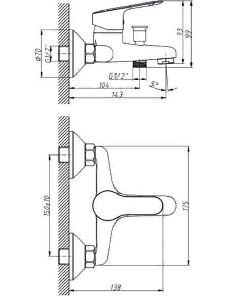 Triton jaucējkrāns vannai ar dušu ДВ8P - 6