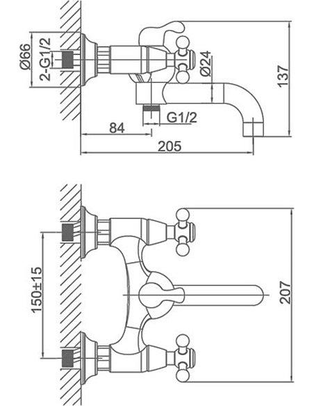 D&K jaucējkrāns vannai ar dušu Hercules Hessen DA1423241 - 3