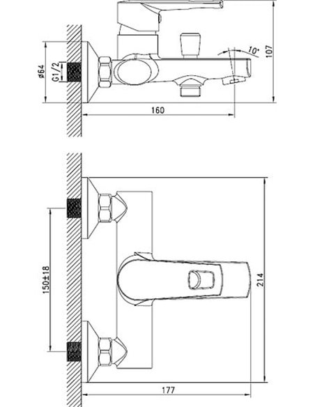 Iddis jaucējkrāns vannai ar dušu Runo RUNSB00i02 - 7