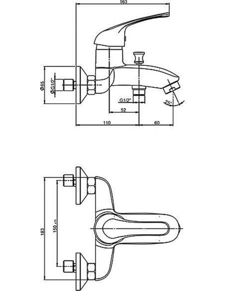 Paini jaucējkrāns vannai ar dušu Trento TRCR111LMKM - 2