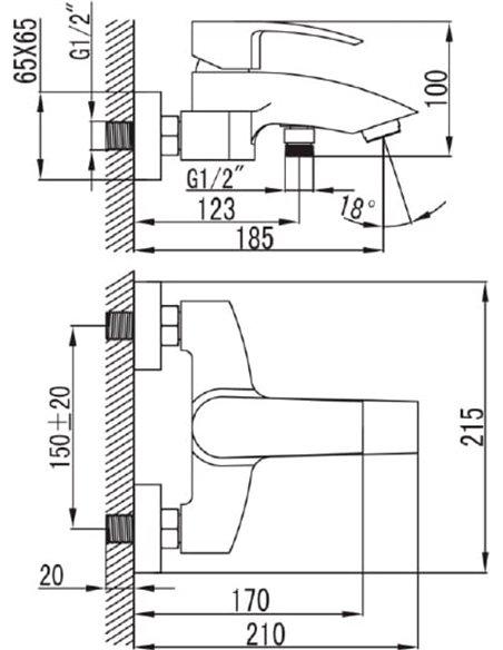 Iddis jaucējkrāns vannai ar dušu Vane VANSB00I02WA - 4