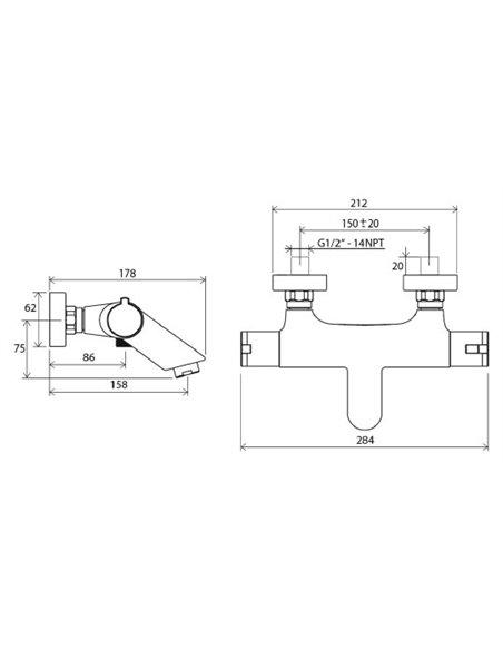 Ravak termostata jaucējkrāns vannai ar dušu Termo 100 TE 022.00/150 - 3