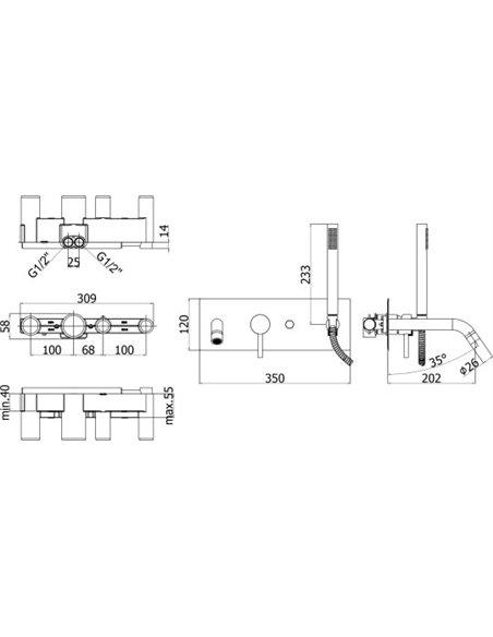 Paffoni jaucējkrāns vannai ar dušu Light LIG001NO - 2