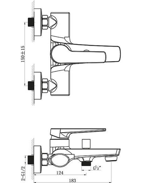 BelBagno jaucējkrāns vannai ar dušu Loyd LOY VASM CRM - 2
