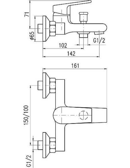 Rav Slezak jaucējkrāns vannai ar dušu Colorado CO154.5CMATC - 2