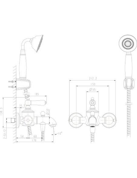 Bravat jaucējkrāns vannai ar dušu Art F675109U-B - 2