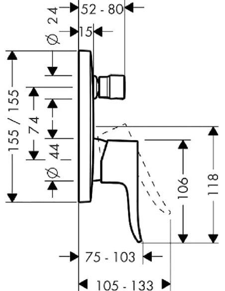 Hansgrohe jaucējkrāns vannai ar dušu Metris 31454000 - 2