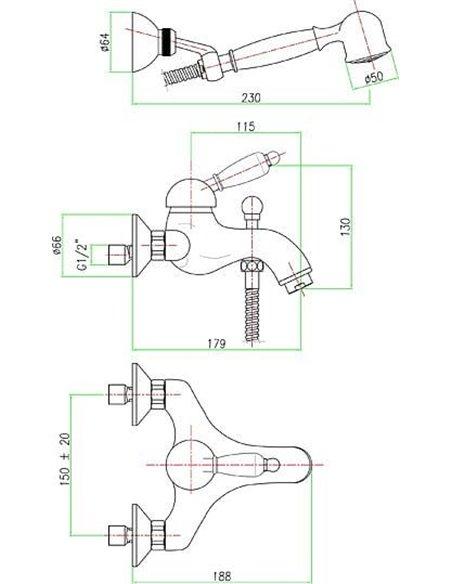 Fiore jaucējkrāns vannai ar dušu Imperial 83OO5103 - 3