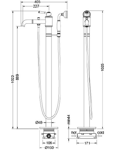 Timo jaucējkrāns vannai ar dušu Arisa 5300/00Y-CR - 2