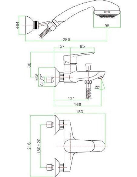 Fiore jaucējkrāns vannai ar dušu Kevon Chic 81WX8150 - 3