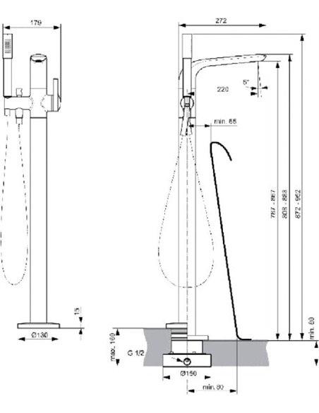 Ideal Standard jaucējkrāns vannai ar dušu Melange A6120AA - 2