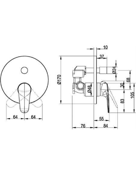 Villeroy & Boch jaucējkrāns vannai ar dušu O.novo TVS10535311061 - 2