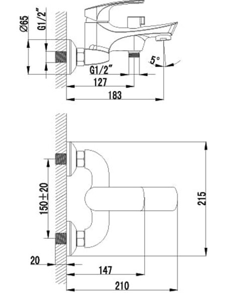 Lemark jaucējkrāns vannai ar dušu Plus Shape LM1712C - 2