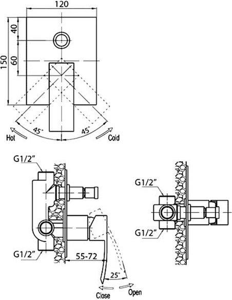 Cezares jaucējkrāns vannai ar dušu Quattro C VDI-01 - 2