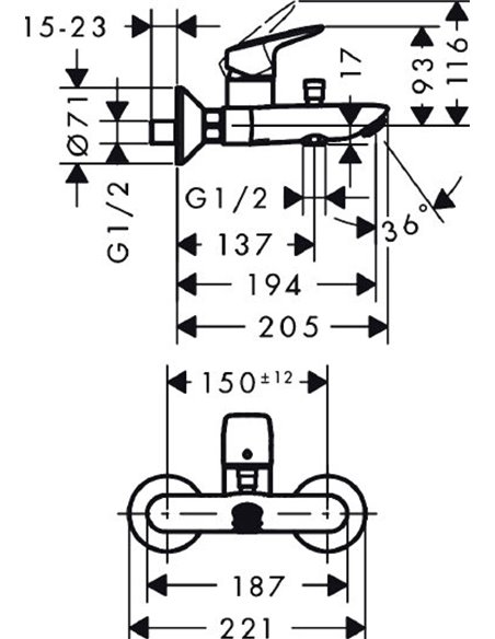 Hansgrohe jaucējkrāns vannai ar dušu Logis 71400000 - 7