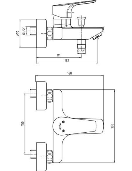 E.C.A. jaucējkrāns vannai ar dušu Niobe 102102482EX - 2