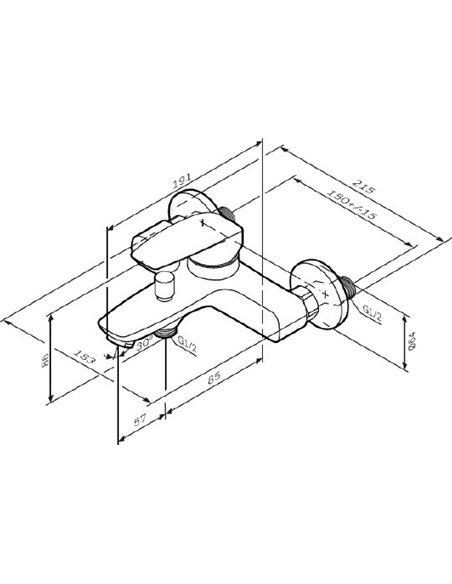 AM.PM jaucējkrāns vannai ar dušu Tender F45A10000 - 9