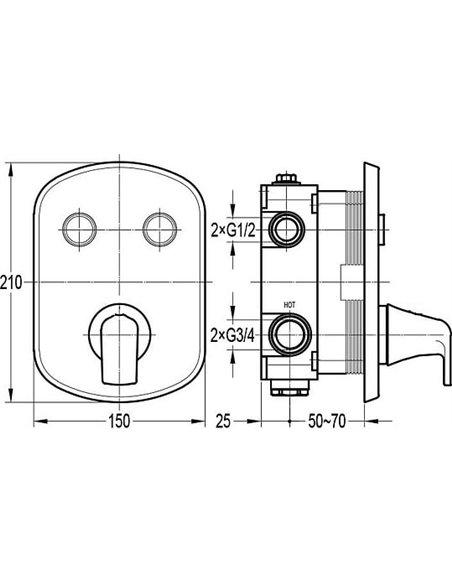 Cezares termostata jaucējkrāns dušai Globo-F-VDIM2-TB-01 - 2