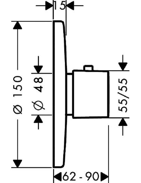 Hansgrohe termostata jaucējkrāns dušai Metris Ecostat E 31570000 - 2