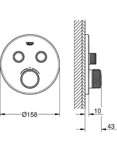 Grohe termostata jaucējkrāns dušai Grohtherm SmartControl 29119000 - 3