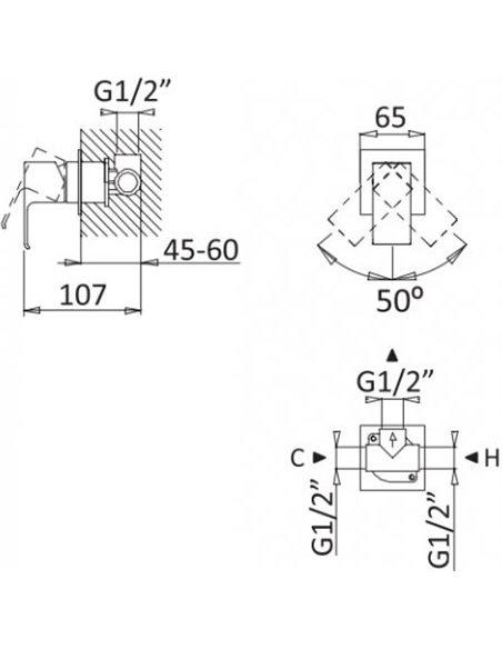 Cezares dušas jaucējkrāns Porta DIM BIO - 2
