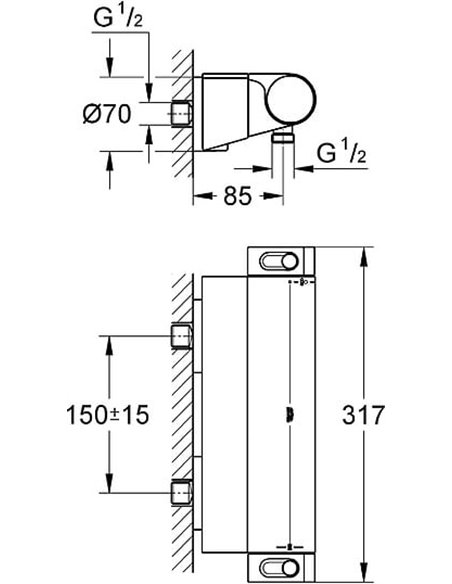 Grohe termostata jaucējkrāns dušai Grohtherm 2000 New 34469001 - 8