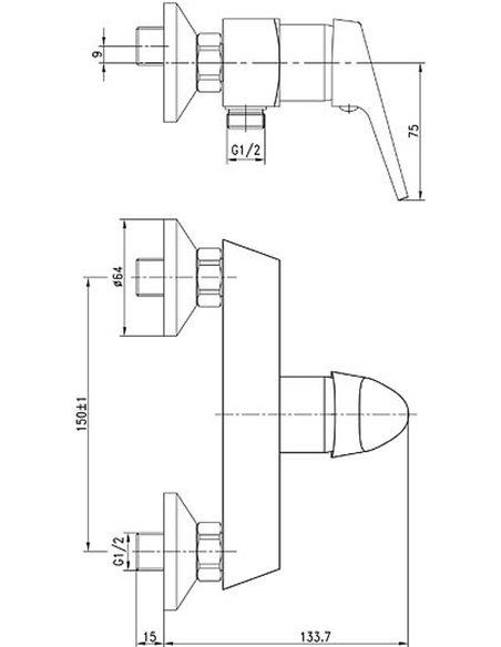 Aquanet dušas jaucējkrāns Round Handle SD90707 - 5