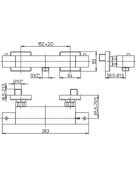 Paini termostata jaucējkrāns dušai Dax 84CR511THKM - 2