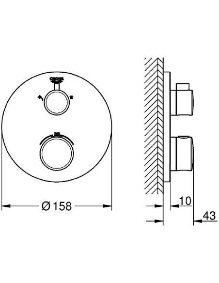 Grohe termostata jaucējkrāns dušai Grohtherm 24076000 - 6