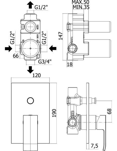 Paffoni dušas jaucējkrāns Elle EL015NO/M - 2