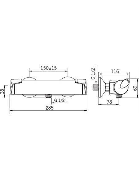 Oras termostata jaucējkrāns dušai Optima 7160U - 3