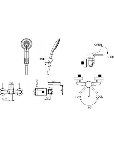 Bravat dušas jaucējkrāns Slim TF9332366CP-01-RUS - 5
