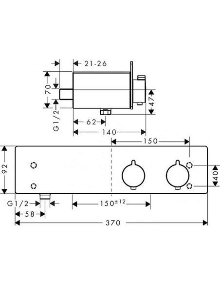 Hansgrohe termostata jaucējkrāns dušai ShowerTablet 350 13102400 - 3
