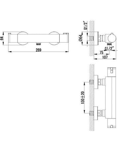 Lemark termostata jaucējkrāns dušai Yeti LM7833C - 2