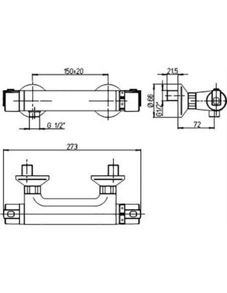 Paini termostata jaucējkrāns dušai Arena 92CR511TH - 2