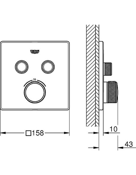 Grohe termostata jaucējkrāns dušai Grohtherm SmartControl 29124000 - 8