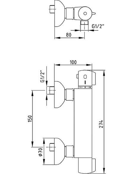 E.C.A. termostata jaucējkrāns dušai Thermostatic 102102341EX - 2