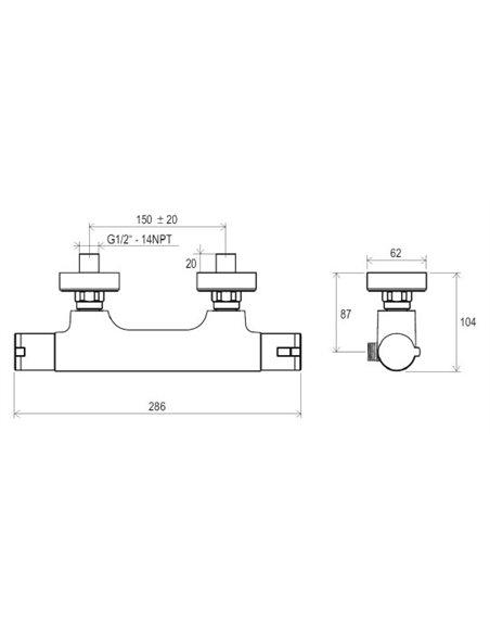 Ravak termostata jaucējkrāns dušai Termo 100 TE 032.00/150 - 5