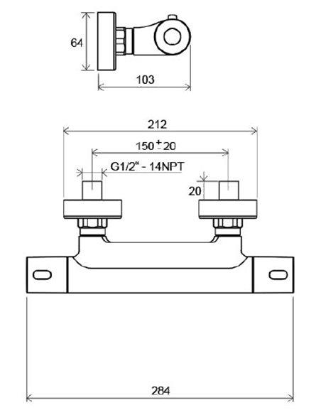 Ravak termostata jaucējkrāns dušai Termo 300 TE 033.00/150 - 2