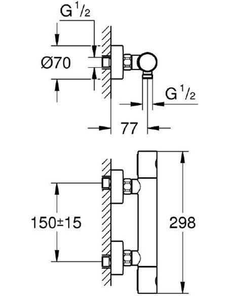 Grohe termostata jaucējkrāns dušai Grohtherm 1000 Cosmopolitan 34065A02 - 2