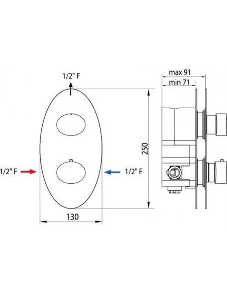 Bossini termostata jaucējkrāns dušai Oval Z006210 CR - 2