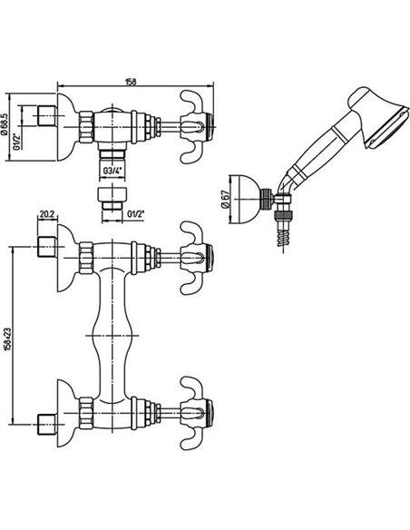Paini dušas jaucējkrāns Ornellaia 87CR509 - 2