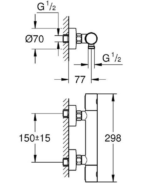Grohe termostata jaucējkrāns dušai Grohtherm 1000 Cosmopolitan 34065GL2 - 2