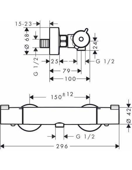 Hansgrohe termostata jaucējkrāns dušai Ecostat 1001 CL ВМ 13211000 - 5