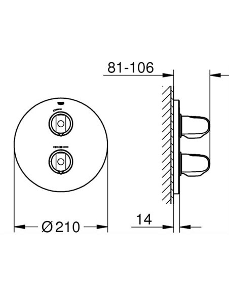 Grohe termostata jaucējkrāns dušai Grohtherm 1000 New 19984000 - 2