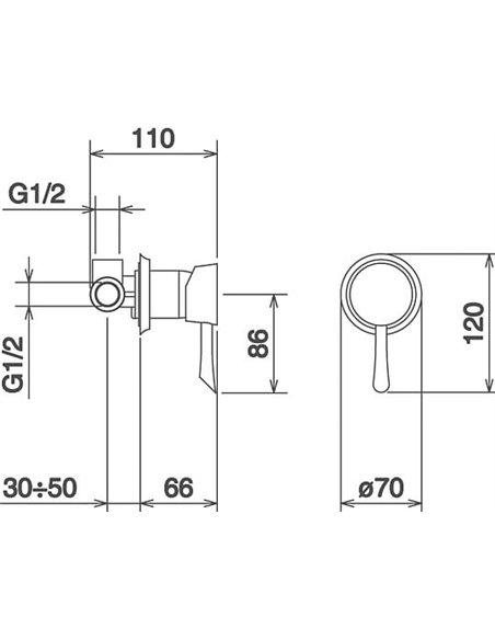 La Torre dušas jaucējkrāns Konvex 17050.CR - 2